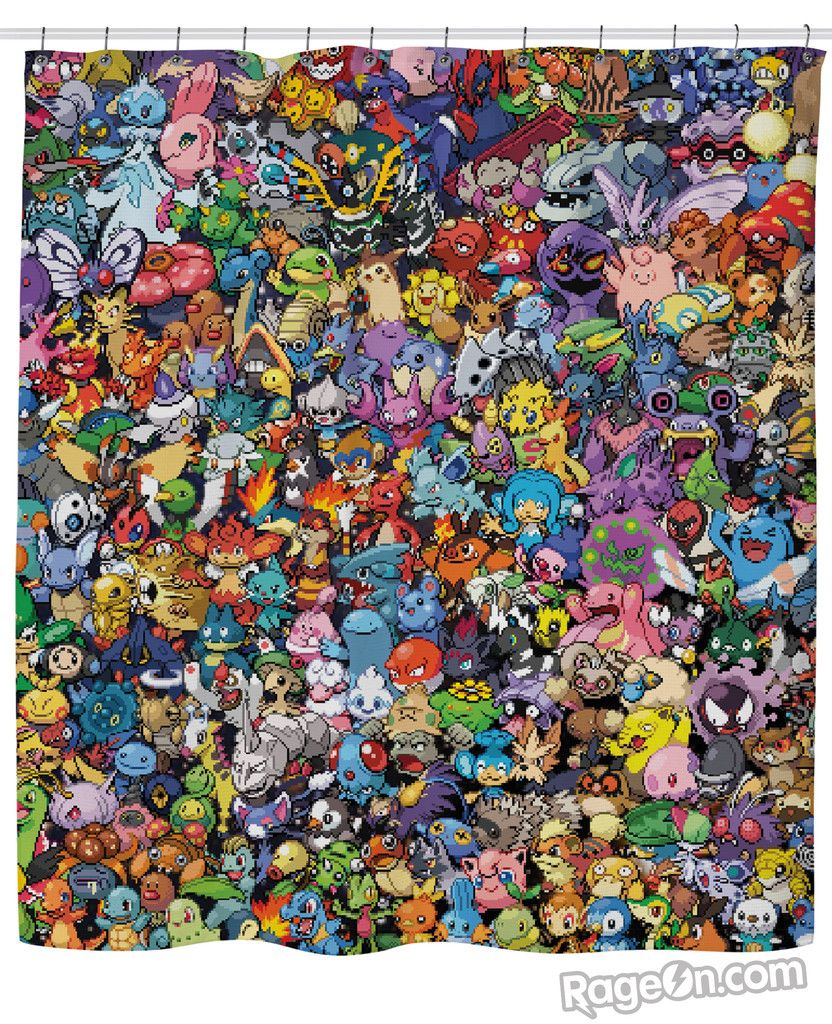 Pokemon Collage Shower Curtain Pokemon Lego Photography Nyan Cat