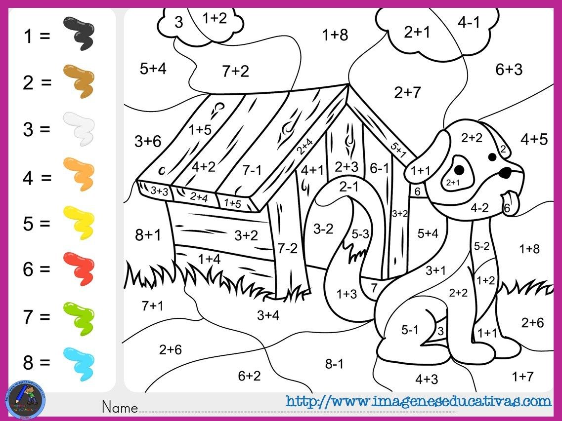 Pin En Addition And Subtraction Basic Math Facts Color By Number Worksheets