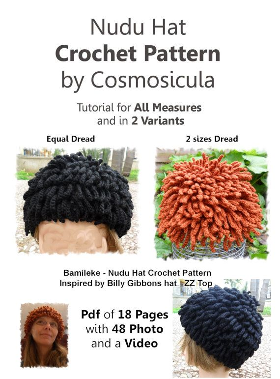 70295cb0df9 Tutorial PDF Crochet Pattern for my Hat Inspired by Cosmosicula. I created  this crochet hat inspired by Billy Gibbons (zz top) nudu ...