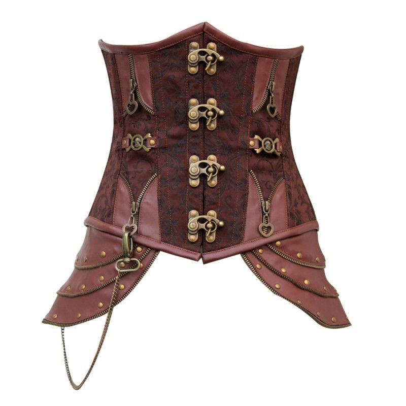 CD-466 - Brown Brocade Underbust with Buckle Fastening