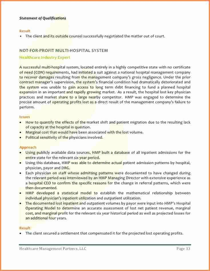 Statement Of Qualifications Template Free Best Of 10