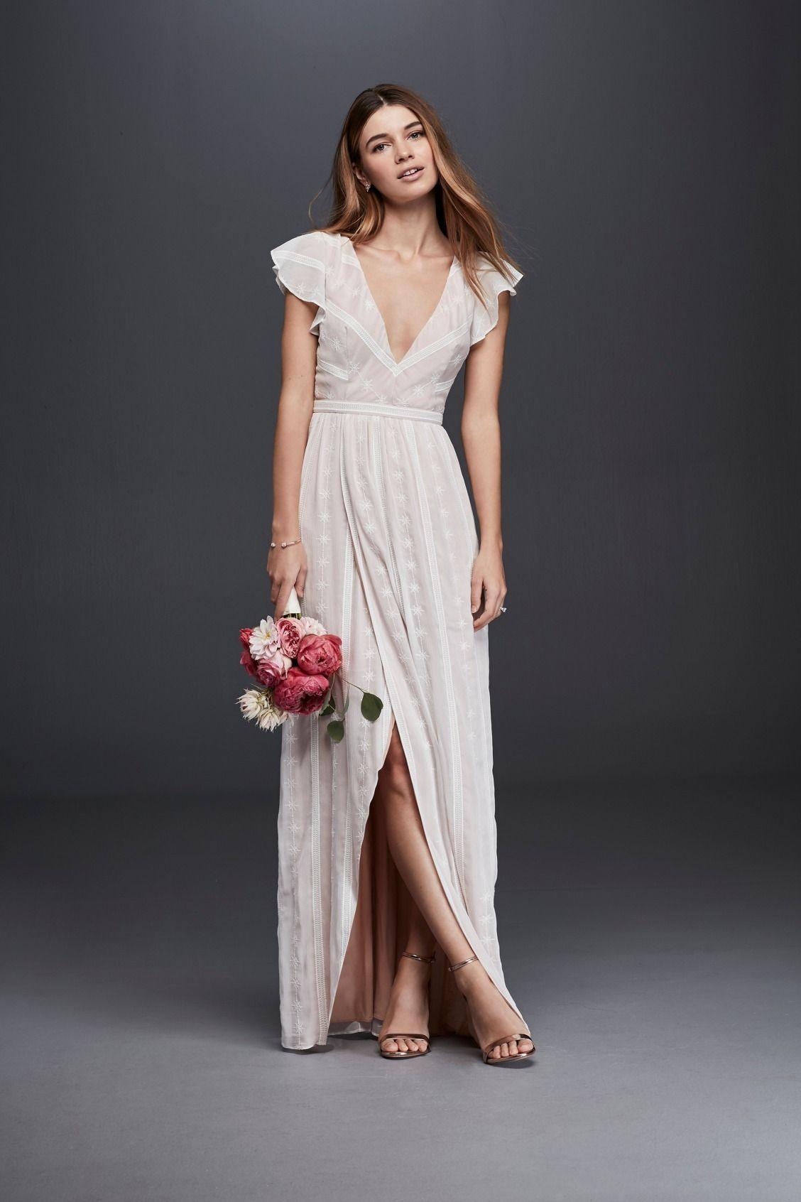 Embroidered Chiffon Dress With Plunging Neckline David S Bridal Casual Wedding Dress Casual Wedding Backyard Wedding Dresses [ 1692 x 1128 Pixel ]