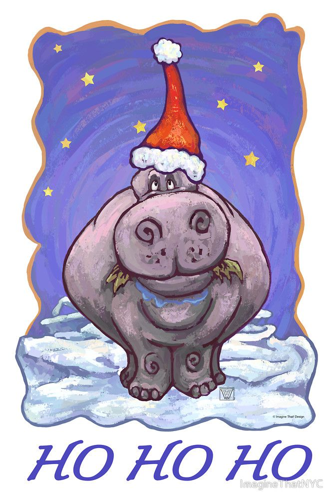 Hippopotamus Christmas Card Kids Clothes By Imaginethatnyc Cute Hippo Hippopotamus Hippopotamus For Christmas
