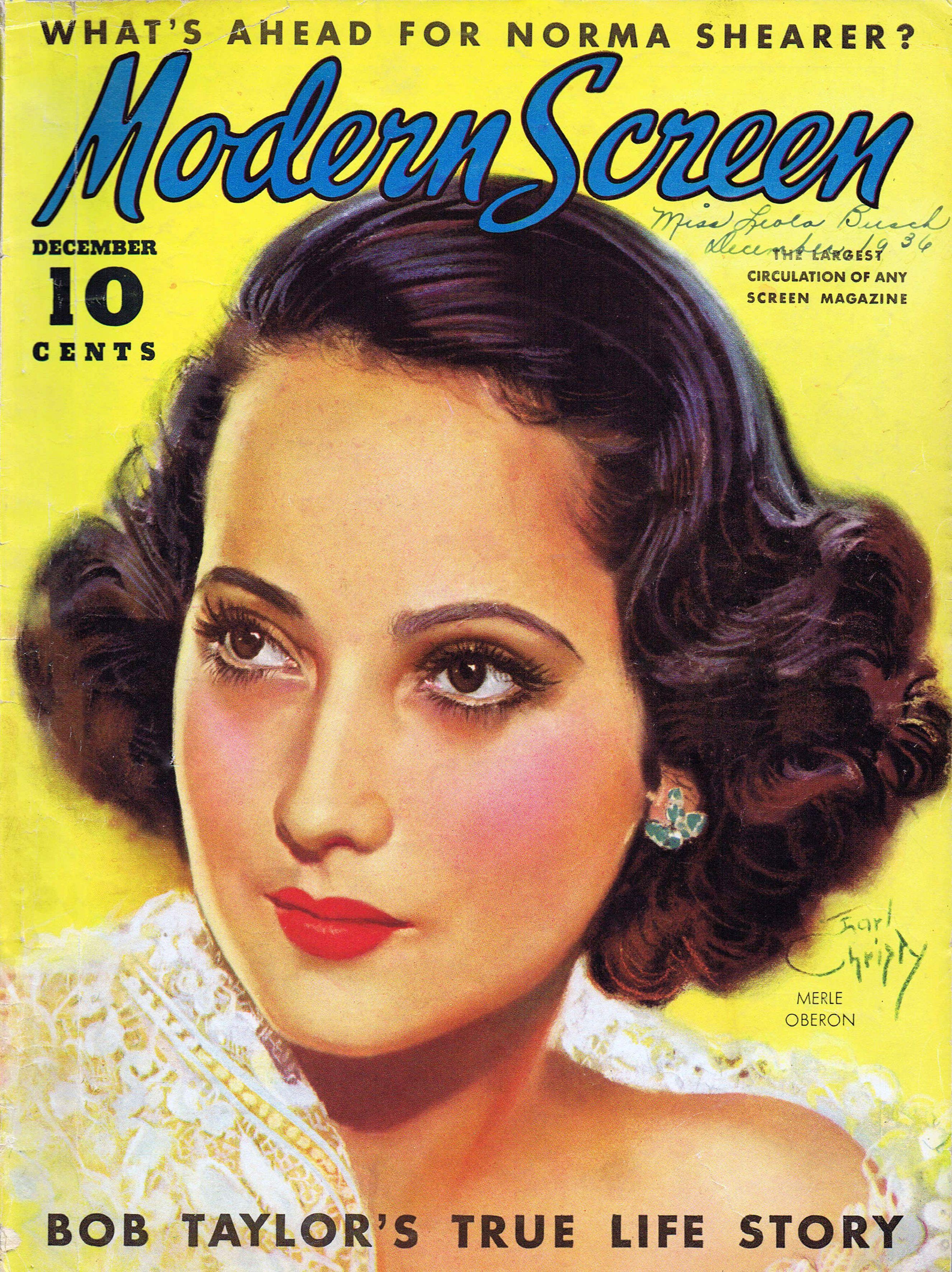 Modern Screen, December 1936 : Merle Oberon