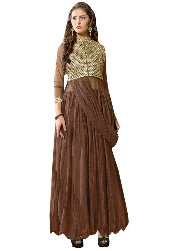 63587bd050 Charming Chocolate Brown Gown Chocolate brown ready made gown. Work - Cut  work patch on yoke and sleeves with zipper opening. Inner will comes  attached ...