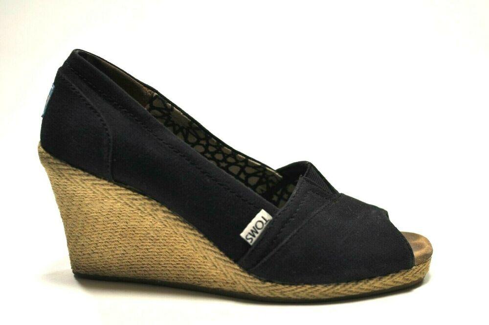 73eec660084 Toms Womens Size 8 Calypso Black Canvas Wedge Peep Toe Espadrilles Shoes   Toms  Espadrilles