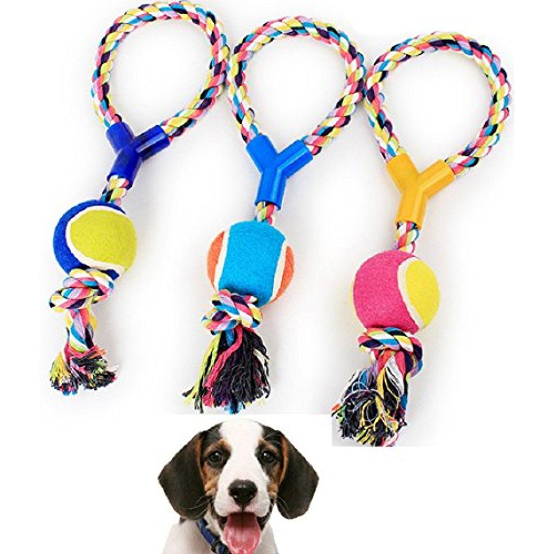 Gessppo Large Medium Dog Throw Tug Pull Chew Toy Ball Rope New Dog