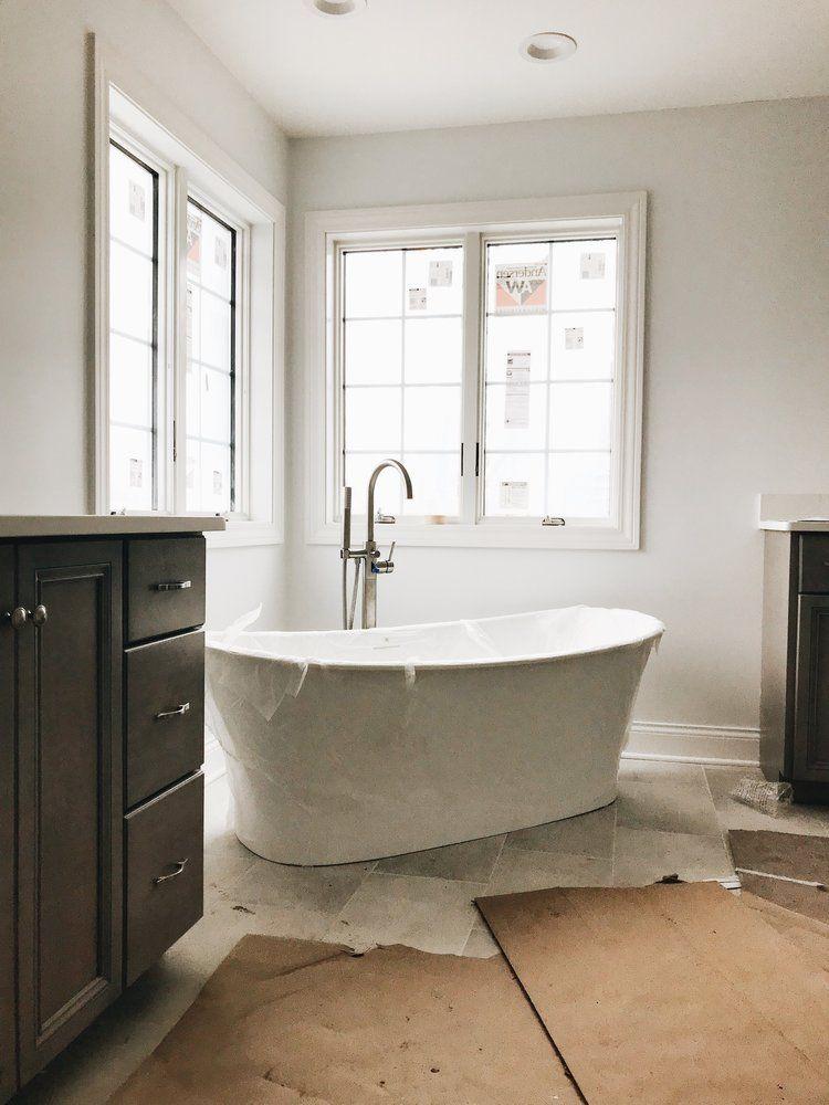 Modern Master Bathroom Ideas First Thyme Mom In 2020 Bathroom Freestanding Modern Master Bathroom Small Master Bathroom