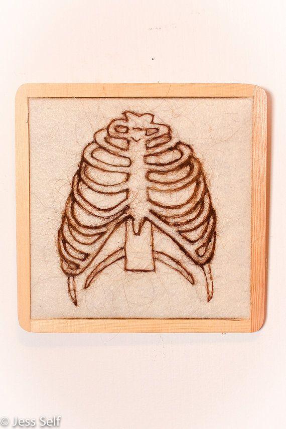 Needle Felted Sternum Illustration ~ Anatomy ~ Wall Art   human hair ...