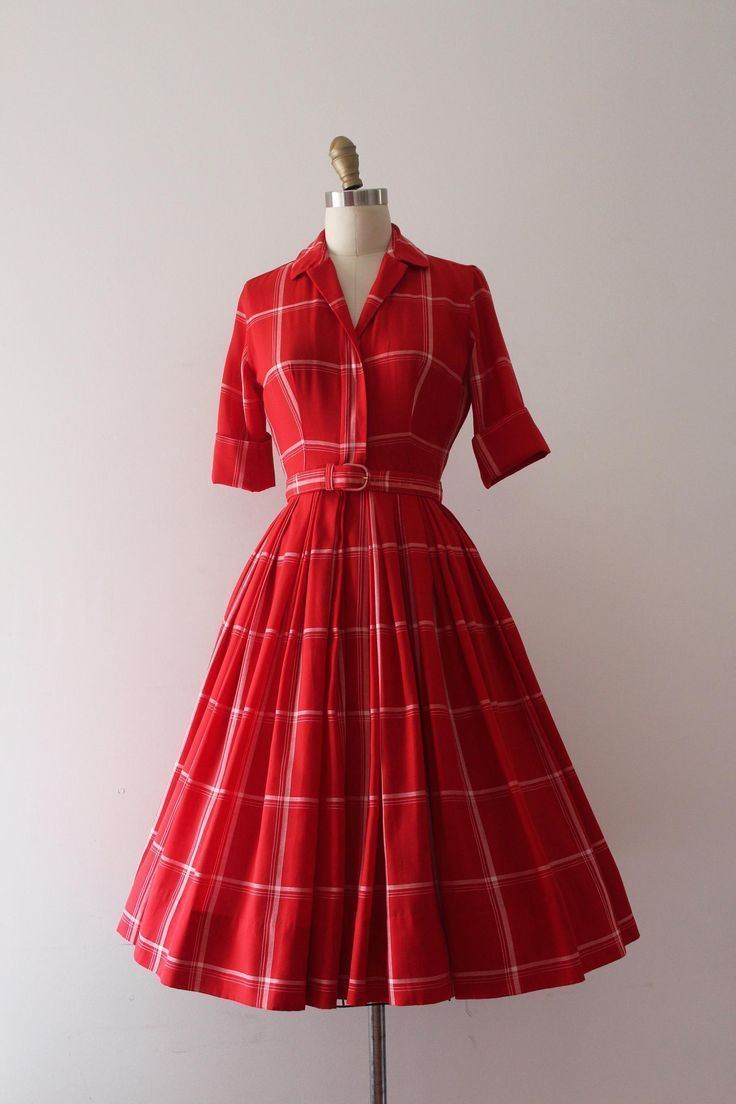 14s #vintageblog #Plaid #plaiddress #red #14 #fashion  Ropa