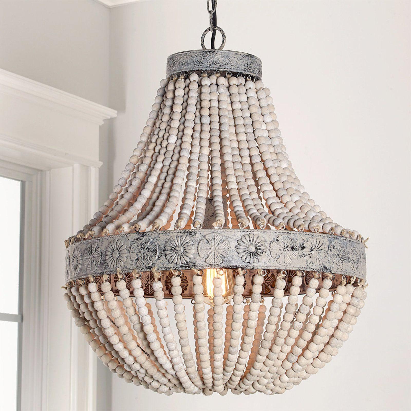 Aged wood beaded chandelier wood bead chandelier aged wood and aged wood beaded chandelier arubaitofo Gallery