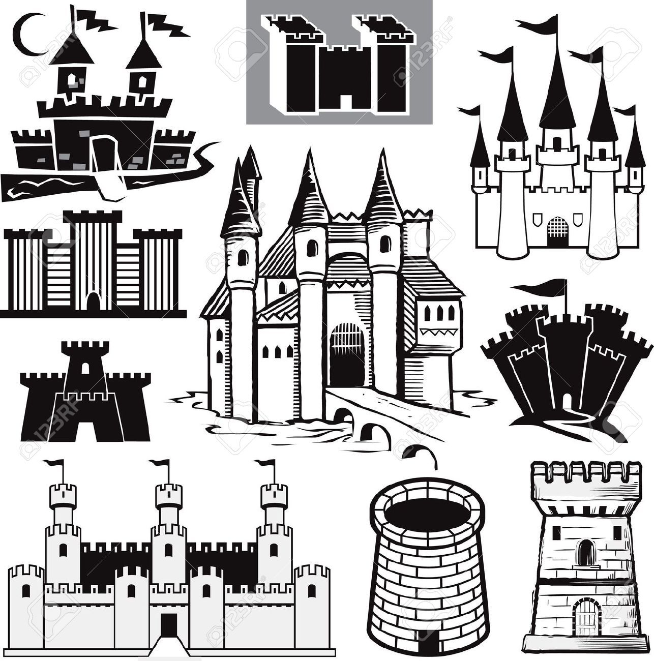 13026608-Castle-Collection-Stock-Vector-castle-medieval-silhouette.jpg (1286×1300)