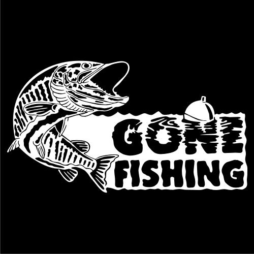 Gone Fishing Muskie Vinyl Decal   Stick-Em-Up - Housewares ...