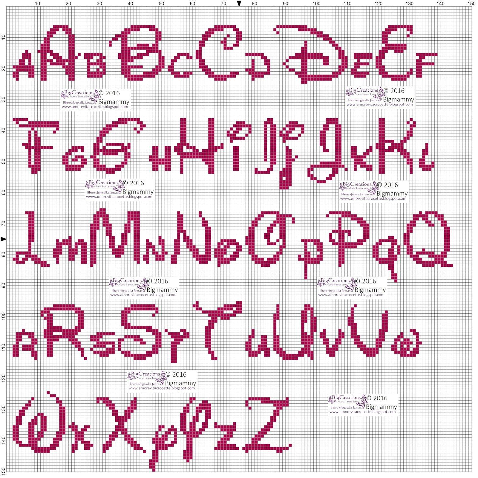 amorevitacrocette alfabeti disney a punto croce punto