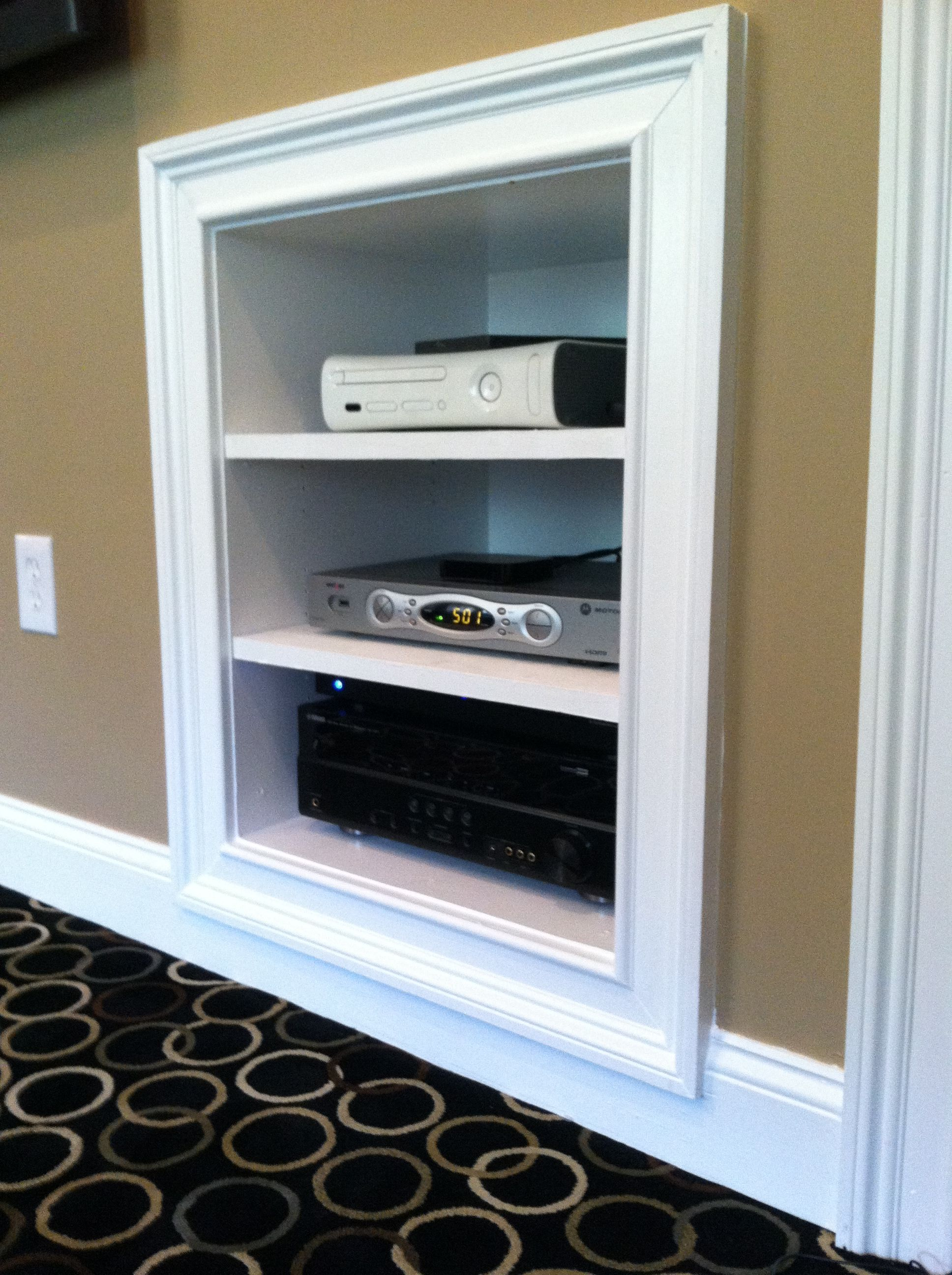 In Wall Media Cabinet Recessed Media Shelf For All You Entertainment Needs