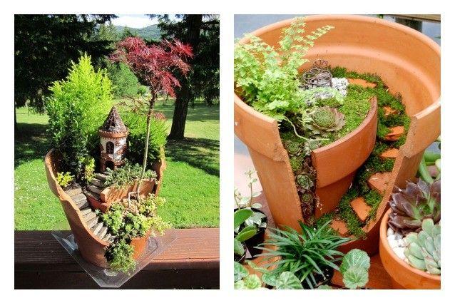 Come trasformare vasi rotti in oggetti utili e belli. Tuin