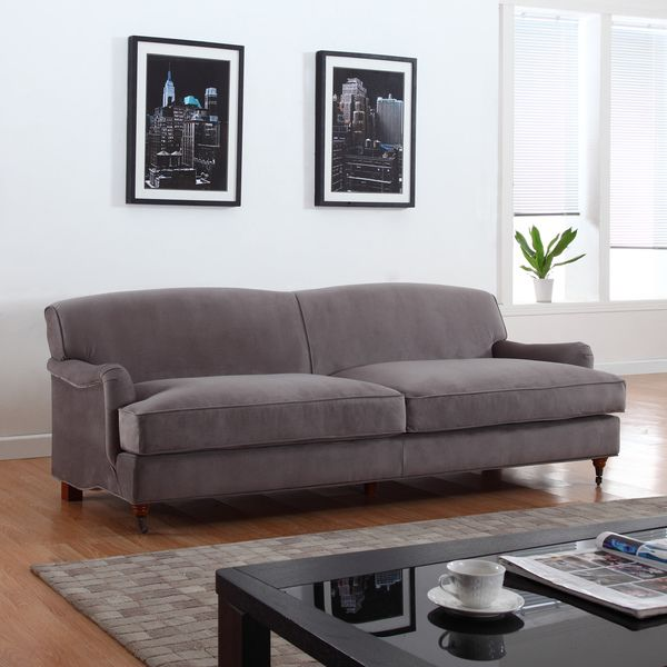 Room Mid Century Grey Modern Sophisticated Large Soft Brush Microfiber Sofa