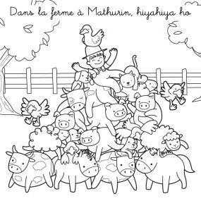 Coloriage La Ferme De Mathurin.Coloriage Chanson Dans La Ferme A Mathurin Hiyahiya Ho