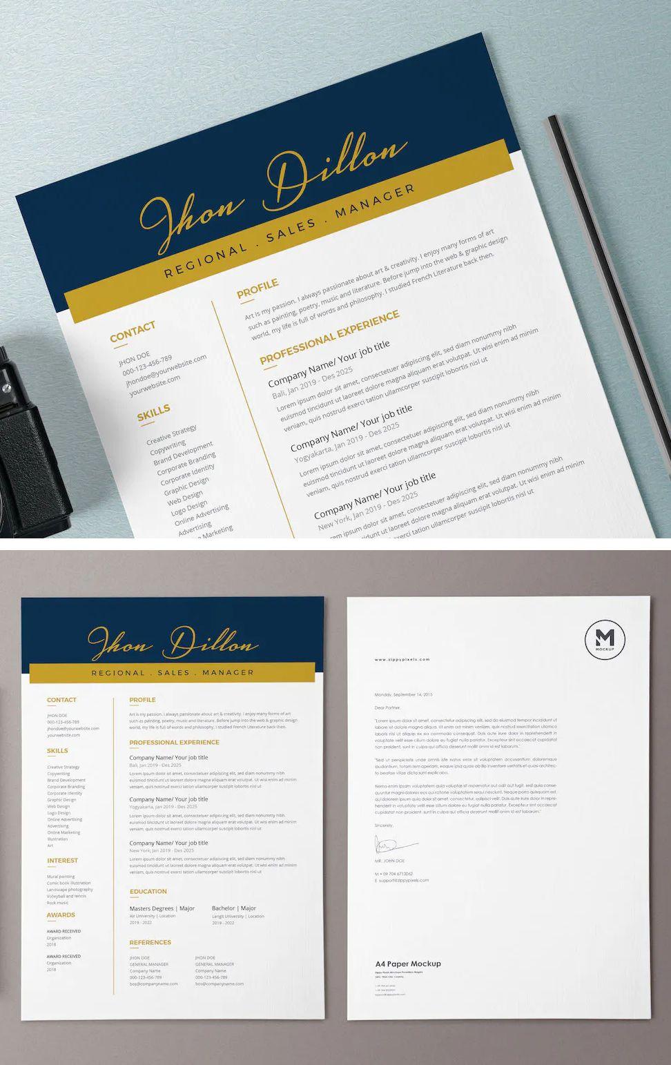 Resume / CV Template AI, PSD Cv template, Resume cv