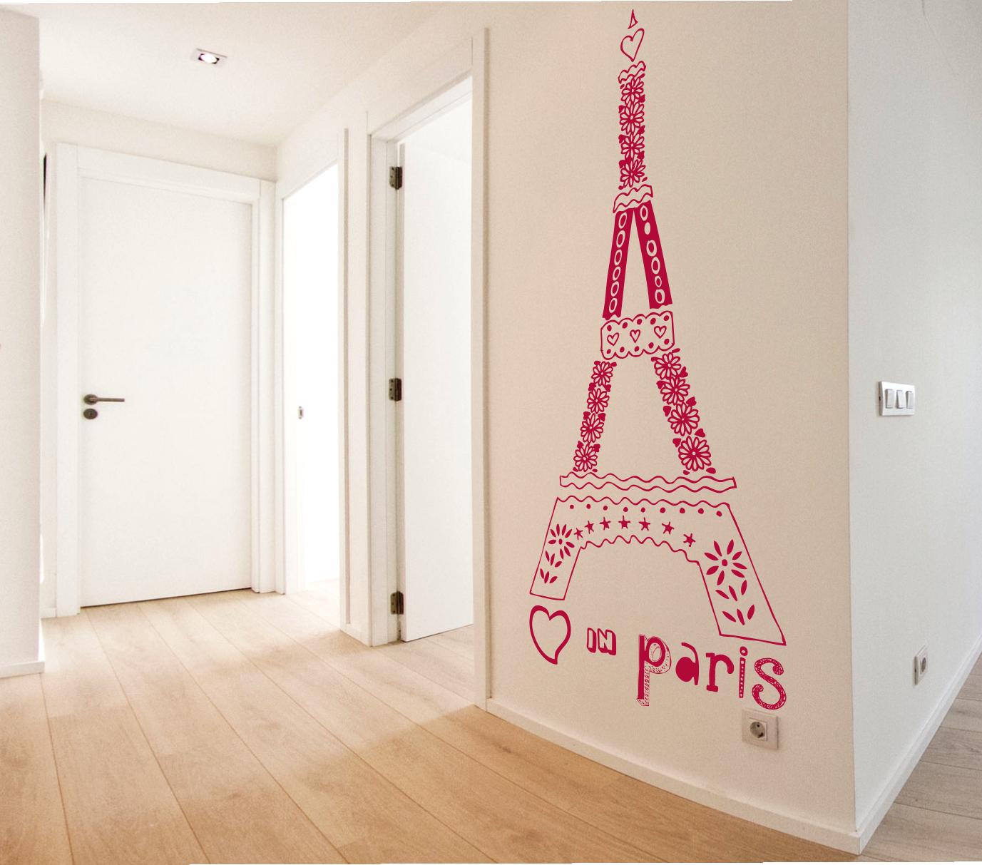 Vinilo Texto Decorativo De La Torre Eiffel Love In Paris  ~ Murales Decorativos Para Habitaciones De Adultos