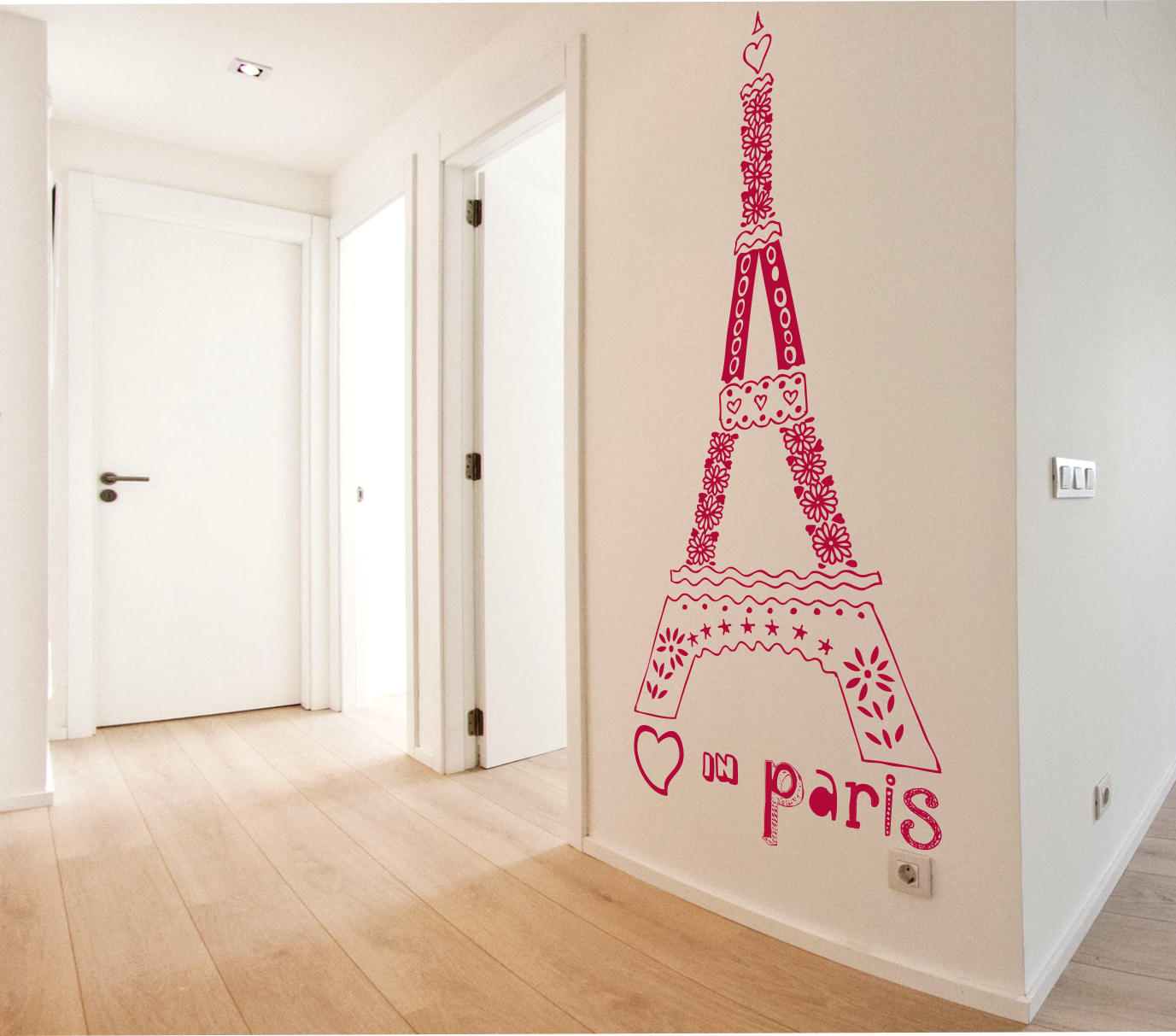 Vinilo texto decorativo de la torre eiffel love in paris for Vinilos juveniles nina