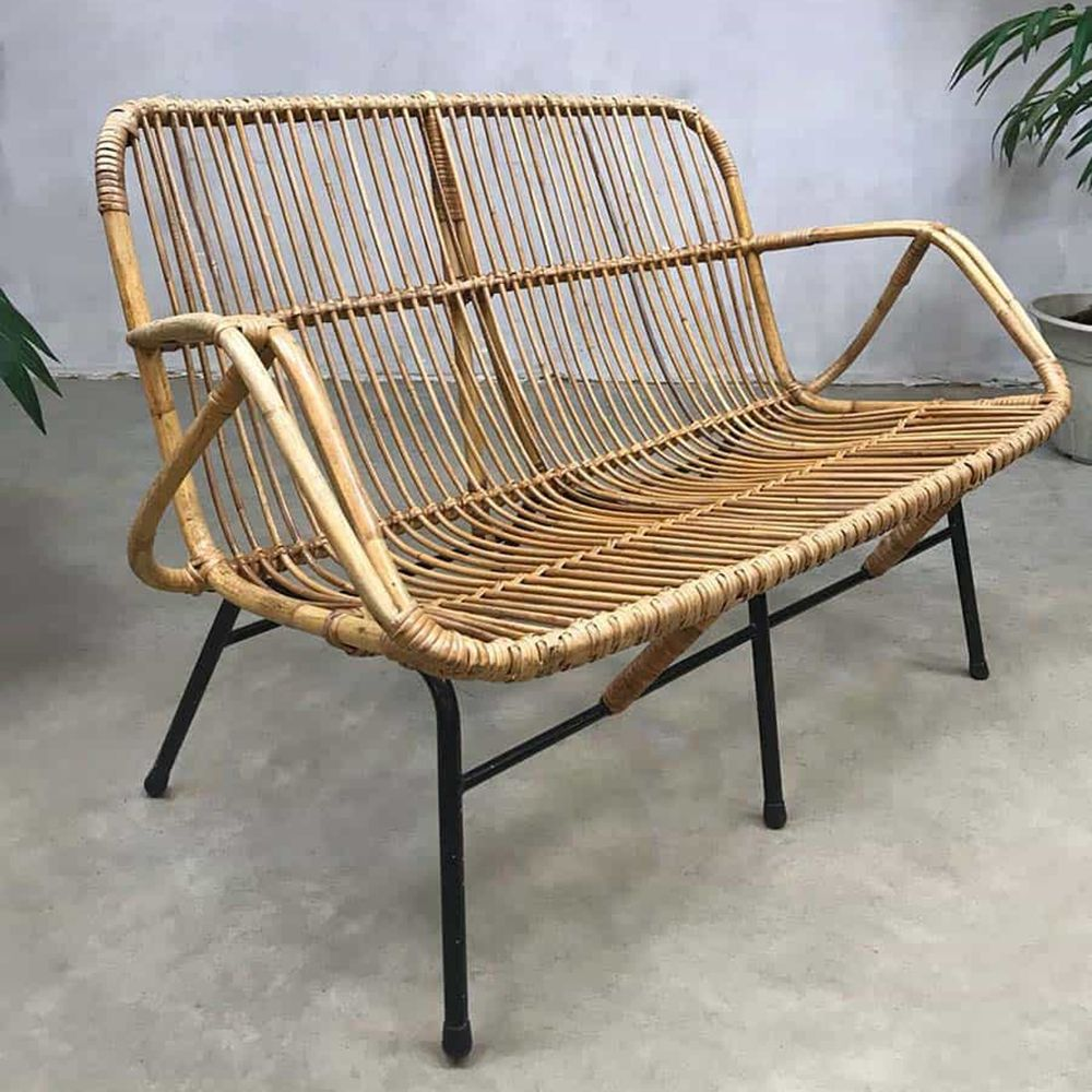 Vintage Design Rattan Sofa Bench By Rohe Noordwolde