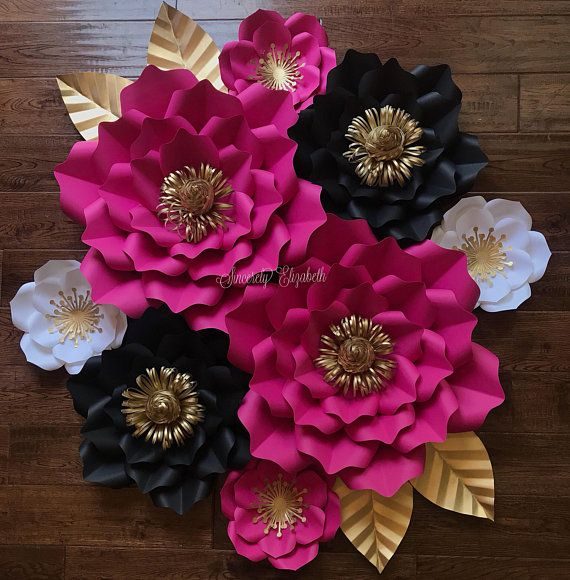 8 Piece Kate Inspired Paper Flowers Wedding Decor Bridal Decor