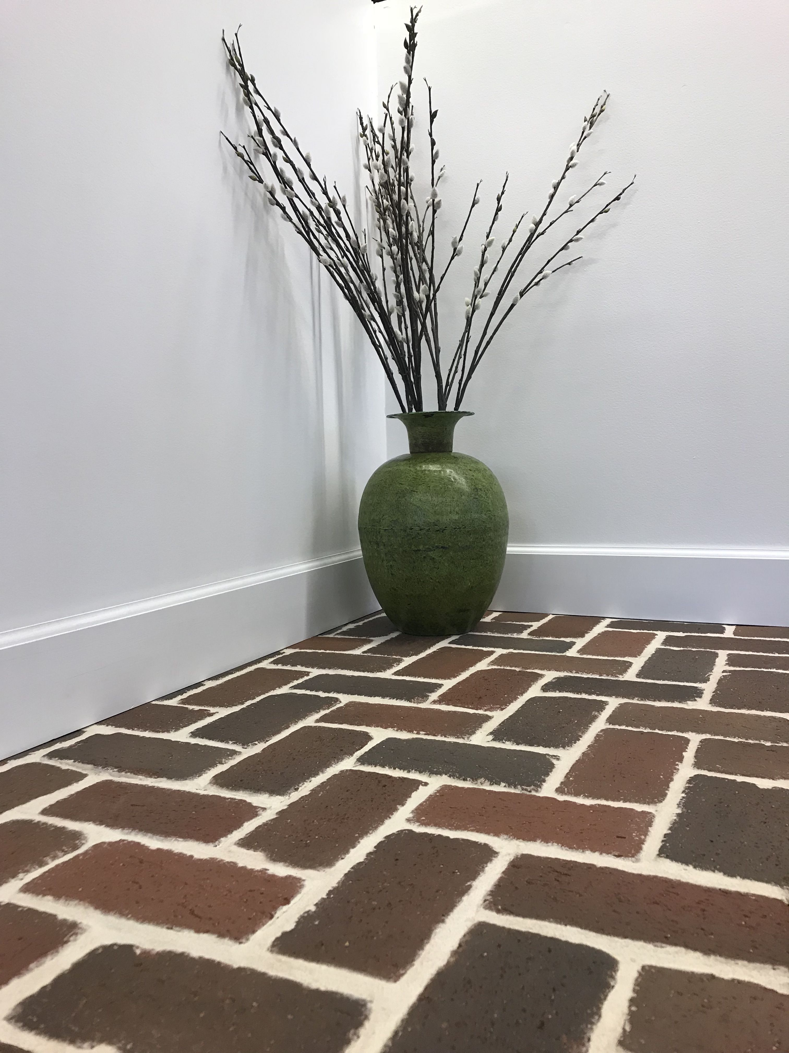 Rumbled Autumn 1 2 Pavertile With Alabaster Grout From Home Depot Real Brick Perfect For Kitchens Mudrooms Sunrooms By Pin Pine Hall Brick Brick Flooring