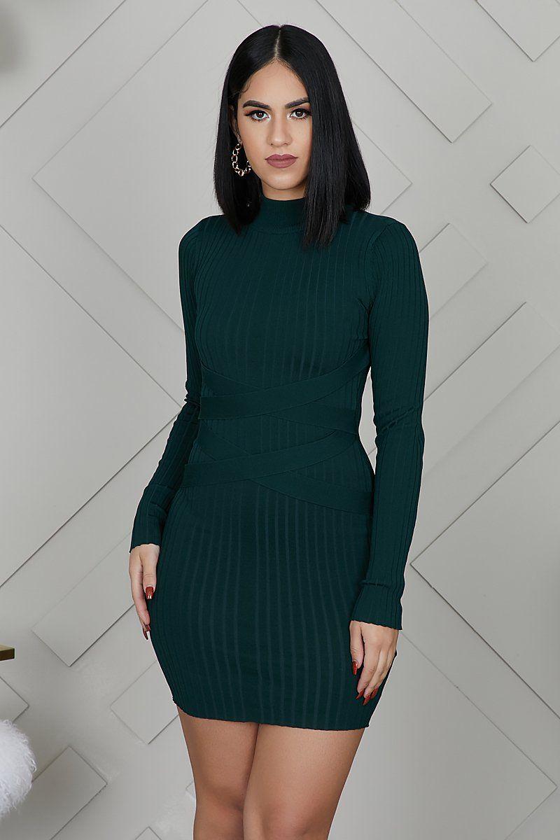 Mini Bandage Ribbed Dress Dark Green Ribbed Dresses Dresses Fashion [ 1200 x 800 Pixel ]