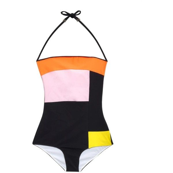 Roksanda Geometric colour-block swimsuit ($345) ❤ liked on Polyvore featuring swimwear, one-piece swimsuits, swimsuit, black multi, colorblock one piece swimsuit, color block bathing suit, halter top one piece swimsuit, colorblock swimsuit and black one piece swimsuit