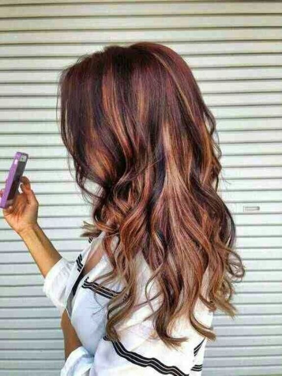 Dark Brown Hair With Red And Blonde Highlights Hair Makeup And