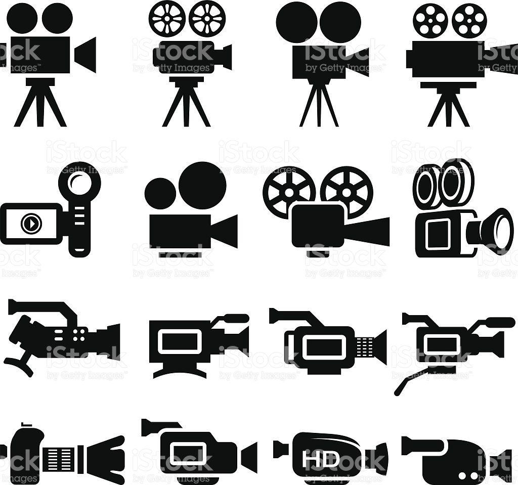 filmcameraoldandnewblackwhiteiconsetvector