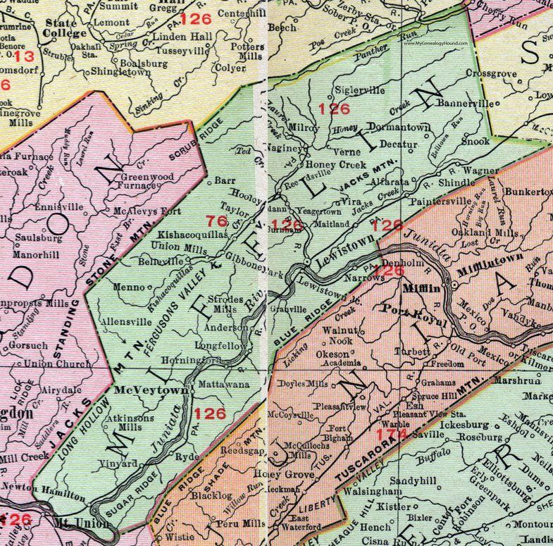 Mifflin County Pennsylvania 1911 Map Lewistown Mcveytown Belleville Paintersville Yeagertown Allensville Granville Mattawana Map Mifflin County Map