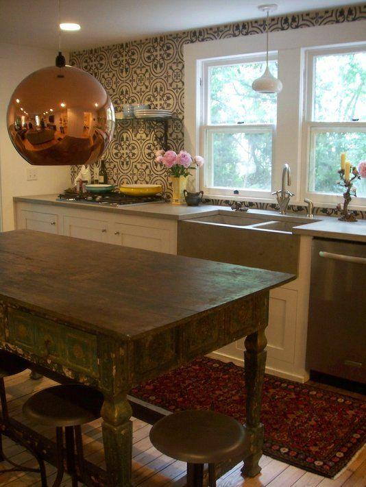 hand crafted custom tile kitchen backsplash - cluny cement tile