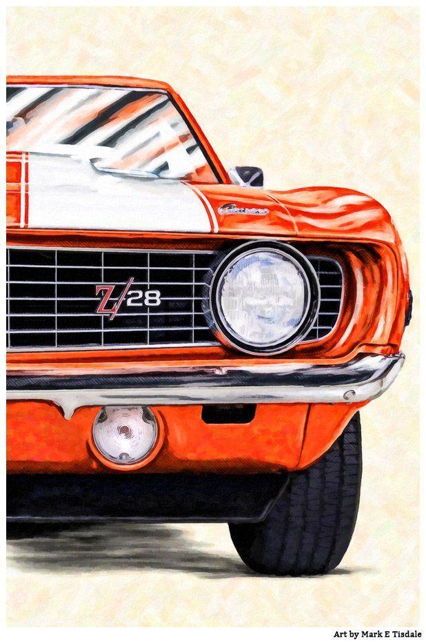 1969 Camaro Artwork – Classic Car Art Print of a '69 Camaro Z/28 in Hugger Orang…