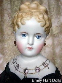 Antique blond porcelain head, crystal bowl and candlestick body, steampunk
