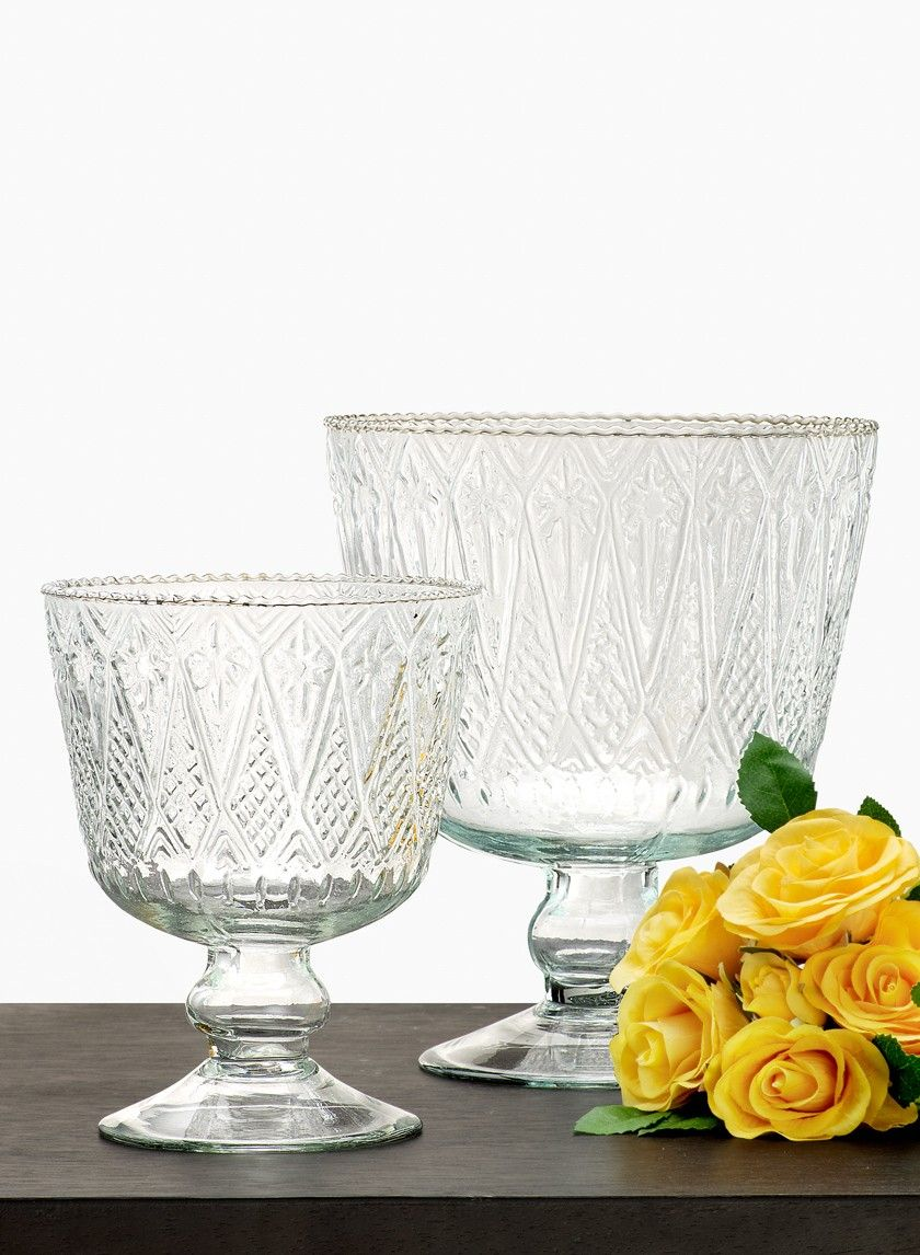 Patterned clear glass pedestal bowl event classic