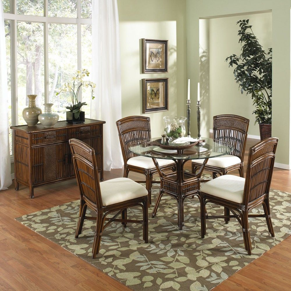 Polynesian Indoor 5 Pc Rattan Bamboo Dining Set With Four Side Chairs Round Base In Antique Finish With 42 Round Glass B Esszimmer Mobel Beistellstuhl Haus