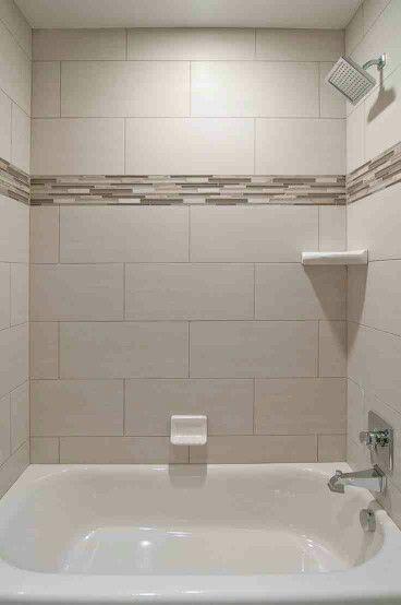 beige subway tile with accent bathroom subway mosaic tile rh pinterest com Black and White Subway Tile Bathroom Ideas White Subway Tile with Dark Grout