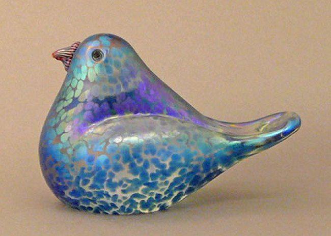 Blue Bird Glass Sculpture by Orient and Flume