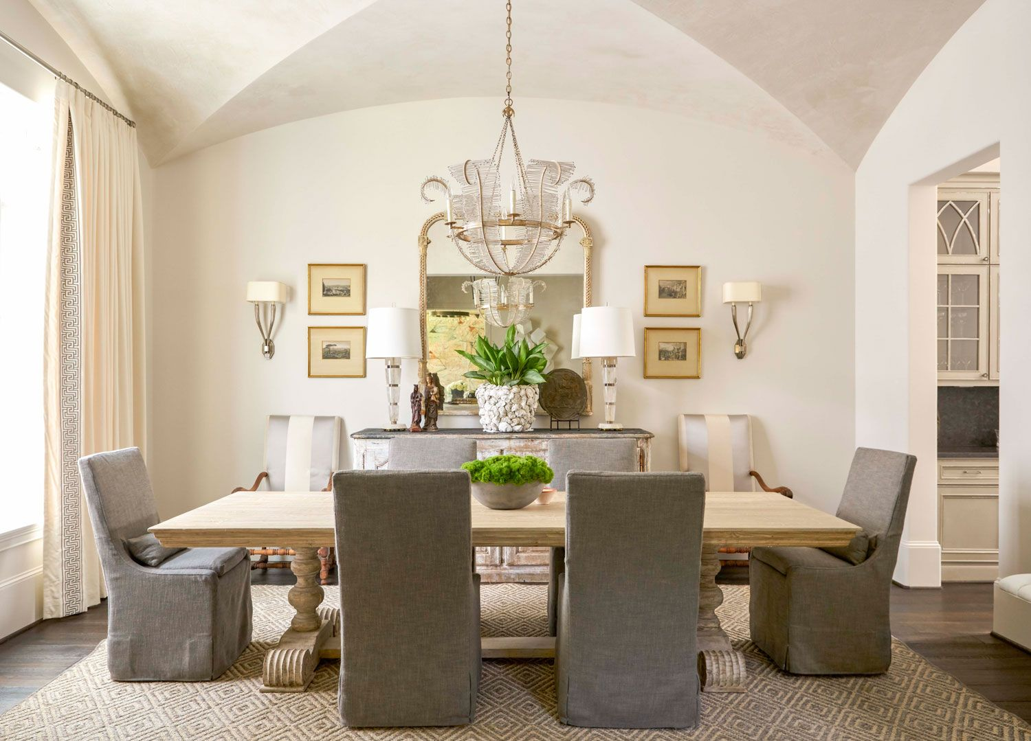 soothing houston home dining chairs chandeliers and linens
