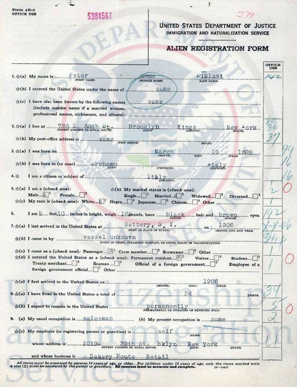 Link to Alien Registration Form Image Sample genealogy - registration forms