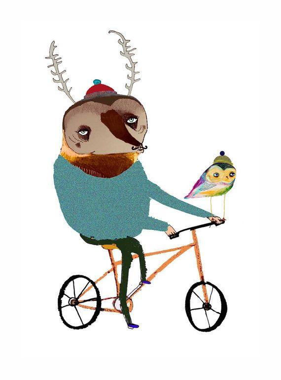 Biking Deer with Owl.