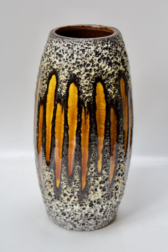 Mid century stylish ocher yellow West German vase 517-30