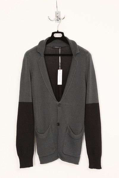 UNCONDITIONAL dark grey and black cotton knit jacket-cardigan.
