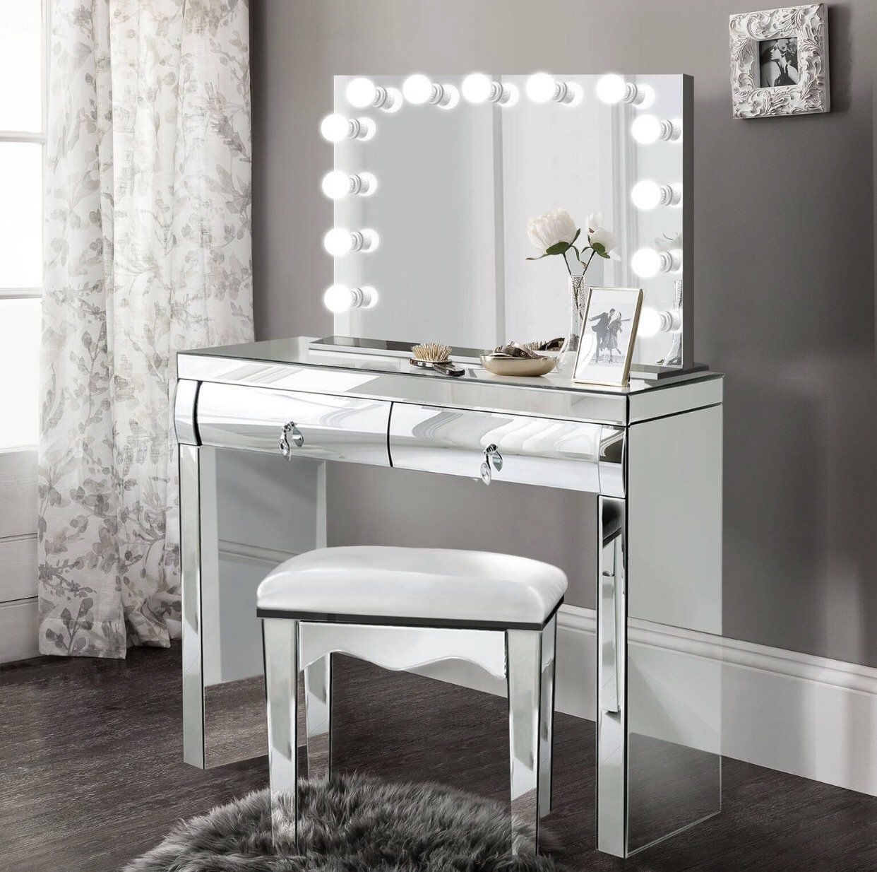 Complete set Mirrored Dimmable Hollywood Makeup Mirror