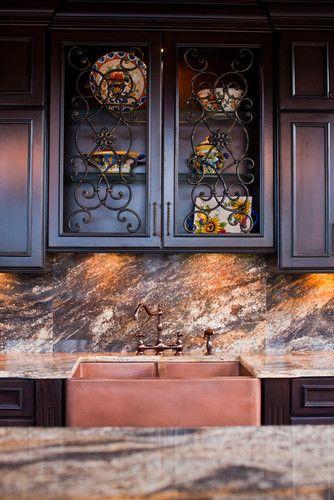 Wrought Iron Inserts In Kitchen Cabinet Doors Mediterranean