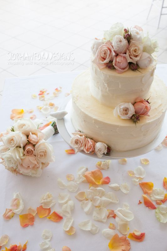 BRIDES IN BLOOM BCG111 Small Round 2 Tier Wedding Cake Finished With Soft Buttercream Icing And