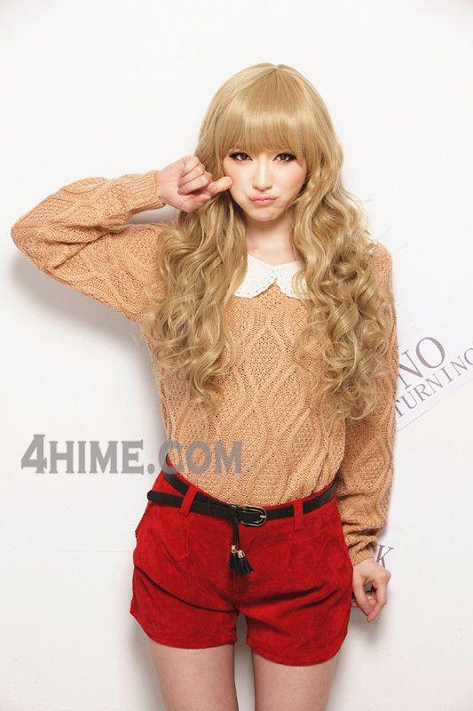 Light Yellow Curly Wavy Dolly Wig, gyaru hairstyle, gyaru wig, Japanese hairstyles