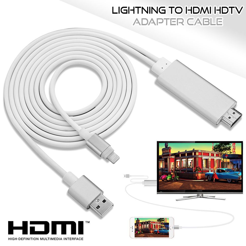 8 Pin Lightning to TV HDTV HDMI Mirroring Cable AV Adapter For Apple iPhone//iPad
